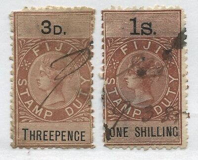 Fiji QV 3d and 1/ Stamp Duty revenues used