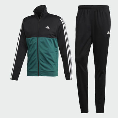 Adidas mens Track suit 3 stripes black green white jacket and pant set CY2303