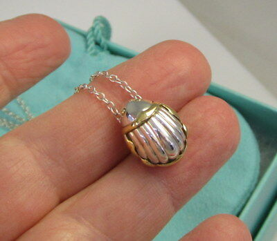 TIFFANY & CO Elegant Vintage SCARAB Sterling Silver 18k Yellow Gold Necklace