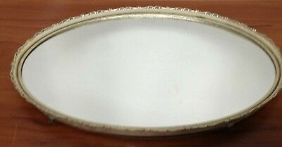 VTG Ornate Oval Brass Footed Mirrored Dresser/Perfume/Vanity Tray