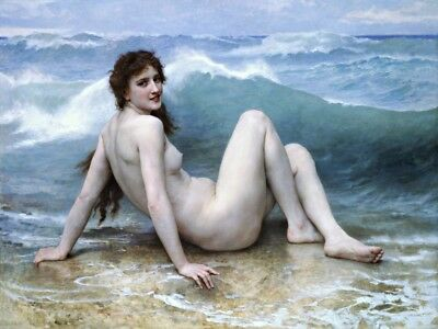 The Wave Painting by William-Adolpe Bouguereau Art Reproduction