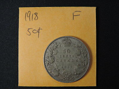 1918 50 Cent Coin Canada King George V Fifty Cents .925 Silver F Grade