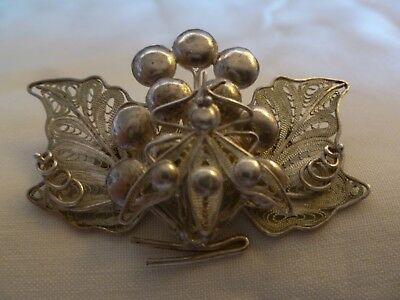 Beautiful Sterling Silver Filigree Work Pin Brooch With Bee / Insect On Flower