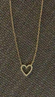 EF Collection 14K Diamond Open Heart Necklace, Yellow Gold, One Size