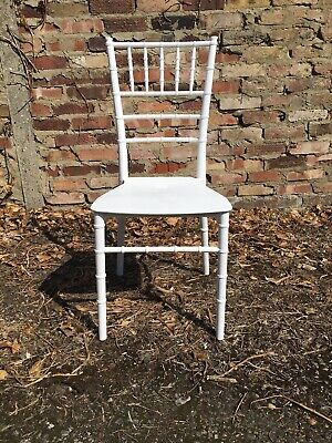 10x WHITE CHIAVARI CHAIRS FOR HIRE + SEAT PADS (MANY COLOURS AVAILABLE)