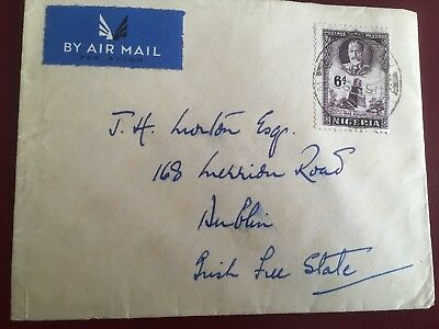 Postal History Nigeria 6d SG 40 George V on 1930s cover to Irish Free State