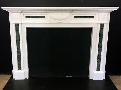 Georgian Style White Carved Marble Fireplace Surround with Green Marble Inlay