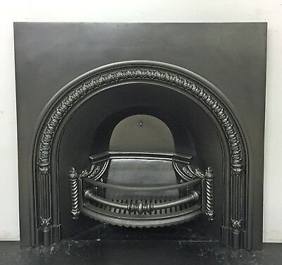 """Large Antique Early Victorian Cast Iron Arched Insert Fireplace 40"""" x 39 3/4"""""""