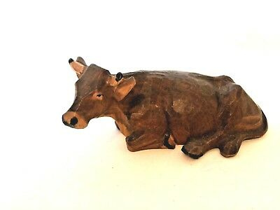 Vintage Black Forest carved wooden sitting COW or BULL - very unusual - M1
