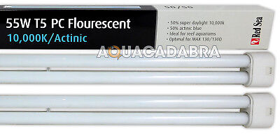 2 X Red Sea Max 55W T5 PC Fluorescent Light Tube Bulb Lamp Fish Tank Max 130D