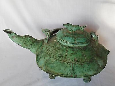 Old Cast Bronze turtle tea kettle from Indonesia, Very Unique