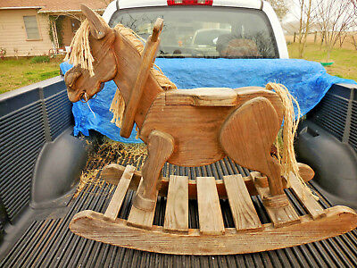 VINTAGE HAND MADE WOODEN ROCKING DONKEY - HEIRLOOM QUALITY LARGE - local pickup