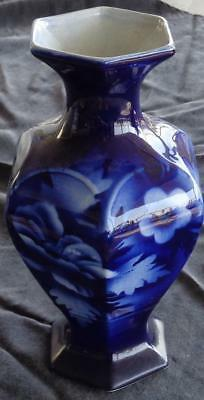 Blue & White Antique China Footed Vase - GORGEOUS OLD COLLECTIBLE - VGC