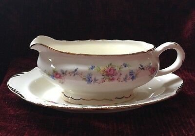 Vintage Pope-Gosser China Flora Bell Pattern Gravy Pitcher And Plate