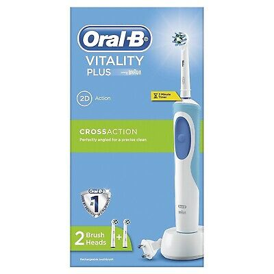 Braun Oral-B Vitality CrossAction Electric Rechargeable Power Toothbrush 2 Heads