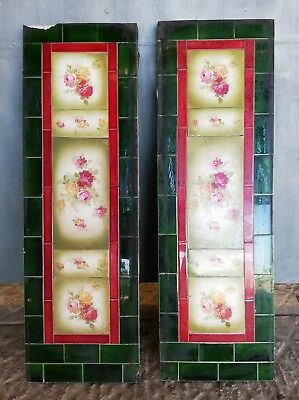 A PAIR OF ATTRACTIVE EDWARDIAN FIRE TILE PANELS WITH FLOWER DESIGN Ref FX0005