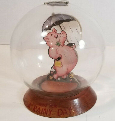 Vintage Vic Moran Bubble Bank Save for a Rainy Day Pig