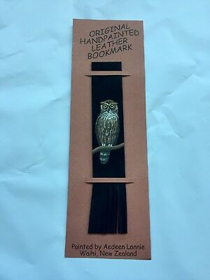 Leather Bookmark Owl Handmade & Hand Painted - Made in New Zealand