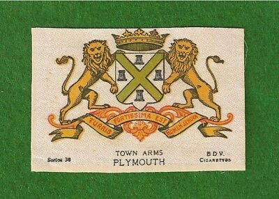 PLYMOUTH printed silk Coat of Arms Home to PLYMOUTHIANS Navy Town 1918 original