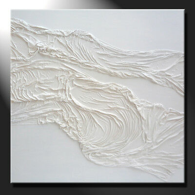 Extra Large White Square Abstract Original Painting Textured Modern GeeBeeArt