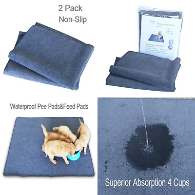 """2PCS Washable Puppy Pads LARGE 42"""" X 30"""" Upgrade Non Slip Dog Pee W Fast Absorbe"""