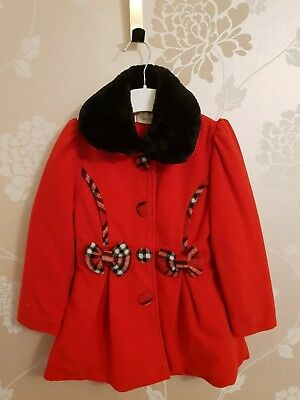 dab0ed7276574 Girls Couche Tot Red coat with tartan Bows & black trim 3-4years Spanish