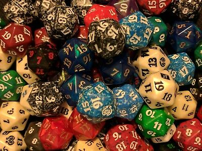Random Set of 5 Dice. MTG DND RPG 20-Sided D20 Spindown Magic The Gathering Lot