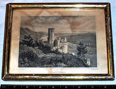 circa 1850 Engraving STOLZENFELS Germany , Antique Picture Frame , German Castle