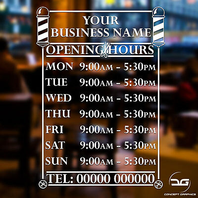 Barbershop Business Opening Hours Times Custom Window Door Decal Sticker Sign