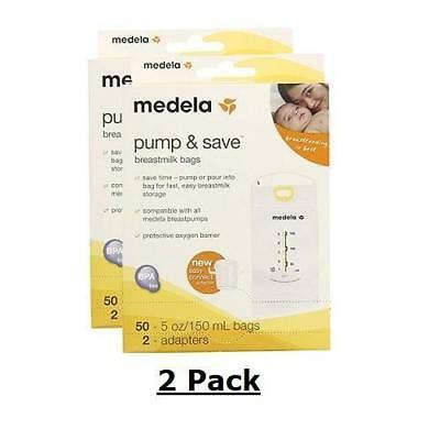 Medela Pump and Save Breast Milk 2 Pack 100 Bags 4 Adapters Free Shipping, NEW!