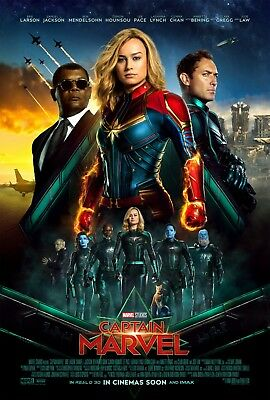 "Captain Marvel (2019) Movie Silk Fabric Poster 11""x17"" 24""x36"""
