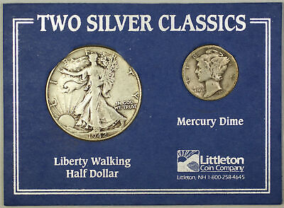 Two Silver Classics Walking Liberty Half & Mercury Dime Littleton Coin Set