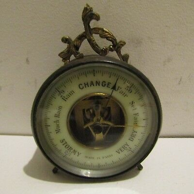 Antique French brass barometer
