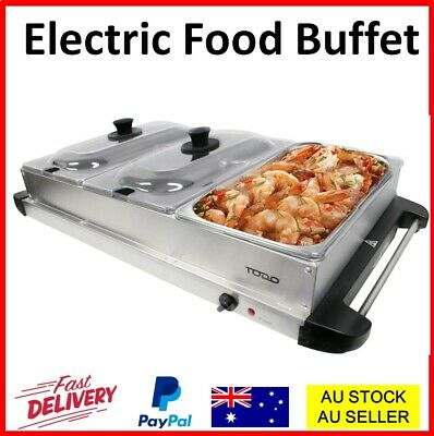 2 Pan Bain Marie Bow Chafing Dish Stainless Steel Food Buffet Food Warmer Table