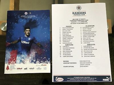 Rangers V St Johnstone. 16/12/17.  Match Programme And Team Sheet. Mint!