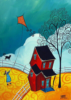 Whimsical landscape tree girl black cat kite Giclee ACEO print folk art Criswell