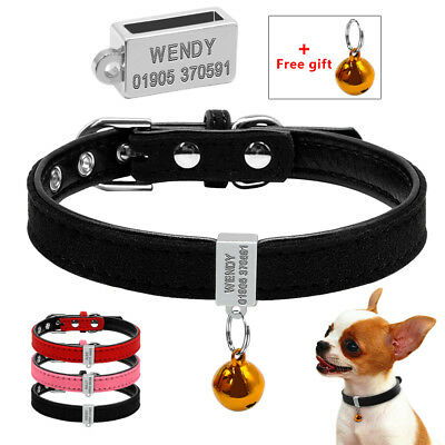 Soft Suede Leather Small Dog Collar Personalized Dog Collar for Chihuahua XS S