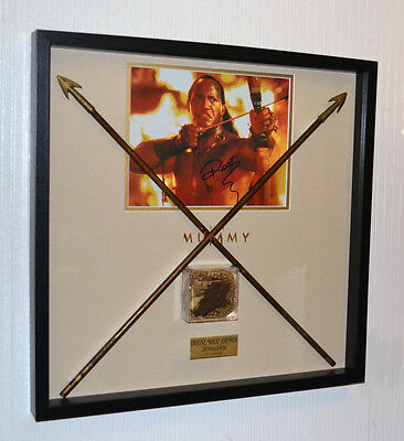 MUMMY Prop Screen-Used ARROWS, Signed ROCK, Mummy COSTUME piece COA, Frame, DVD