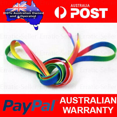 Pair of Rainbow Shoe Laces Candy Coloured Shoelaces Flat Multi Colour Colourful