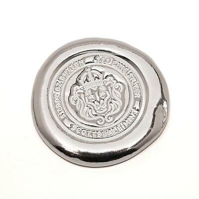 5 oz - Scottsdale Mint Silver Button .999 Fine Bullion Poured Silver Lion Chunky
