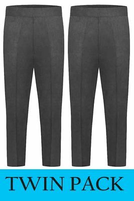 Boys TWIN PACK Pull Up Trousers Full Elasticated Waist. From Age 2 to 8 Years