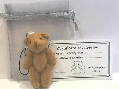 Small Teddy in Gift Bag With Adoption Certificate Pocket Pal Travel Teddy