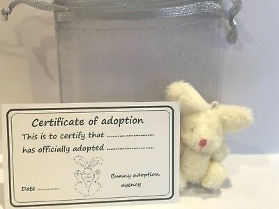 Tiny Plush Lucky White Rabbit and Adoption Certificate Pocket Pal Travel Teddy