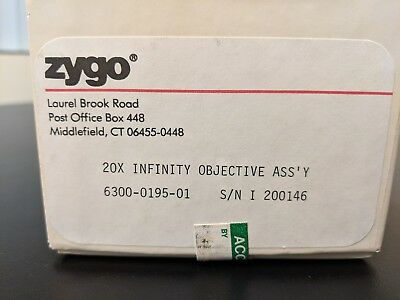 used Zygo New View surface roughness 20x Infinity Objective Ass'Y, 6300-0195-01
