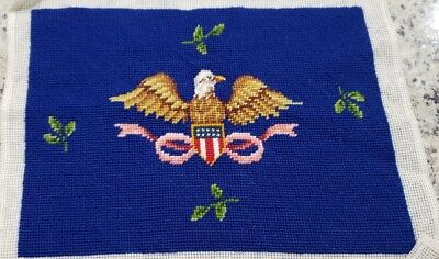 "Vintage American Eagle Needlepoint Piece, 16"" X 12"", Stool, Picture Or Pillow!"