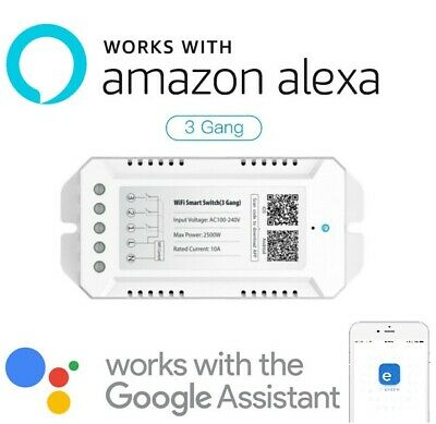Interruttore 3 Gang Switch Smart Wifi Compatibile Con Amazon Alexa Google Presa