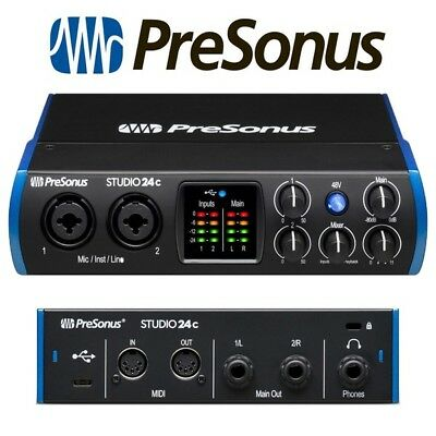 PreSonus Studio 24C Portable Home Recording USB MIDI Audio Interface + Software