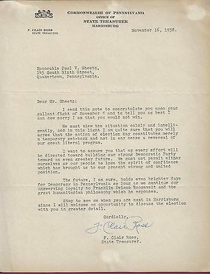 F. Clair Ross, PA Auditory General, Typed Letter Signed, 1938, COA, UACC RD 036