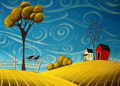Whimsy red barn farm crows house landscape Giclee ACEO print folk art Criswell