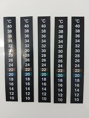 5X Lcd Stick On Flat Strip Thermometer For Aquarium Uk Seller 1St Class Postage